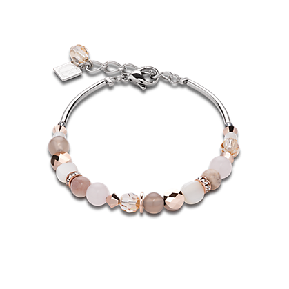Coeur de Lion Bracelet mother of pearl & Swarovski® Crystals & rose quartz & agate beige-rose 4914301019