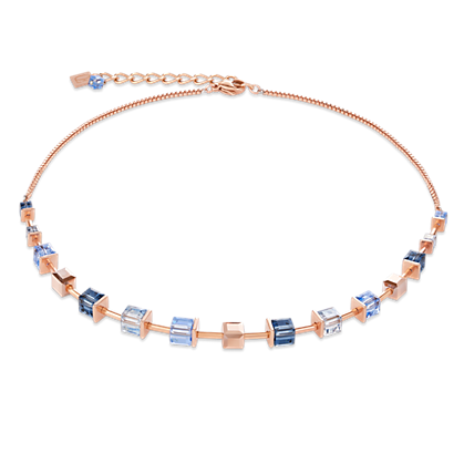 Coeur de Lion Necklace Monochrome BLUE Swarovski® Crystals & stainless steel rose gold blue 4996100700