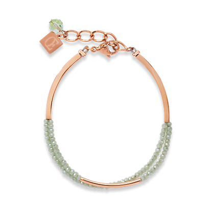 Coeur de Lion Waterfall small stainless steel rose gold & glass light green bracelet 4998300520
