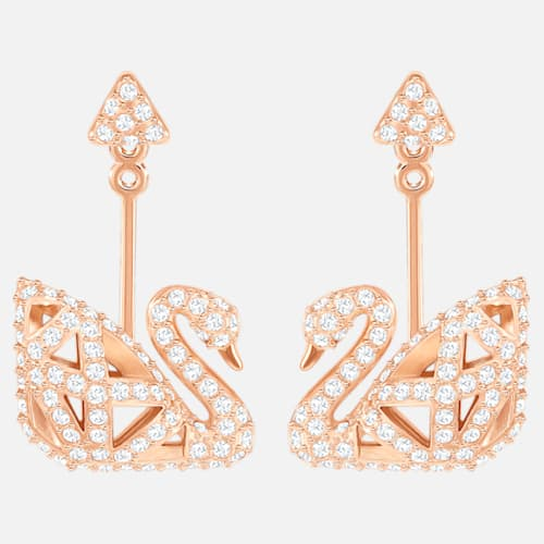 Swarovski Facet Swan Earrings Rose Gold 5358058