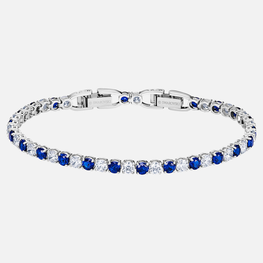TENNIS DELUXE BRACELET, BLUE, RHODIUM PLATED 5506253