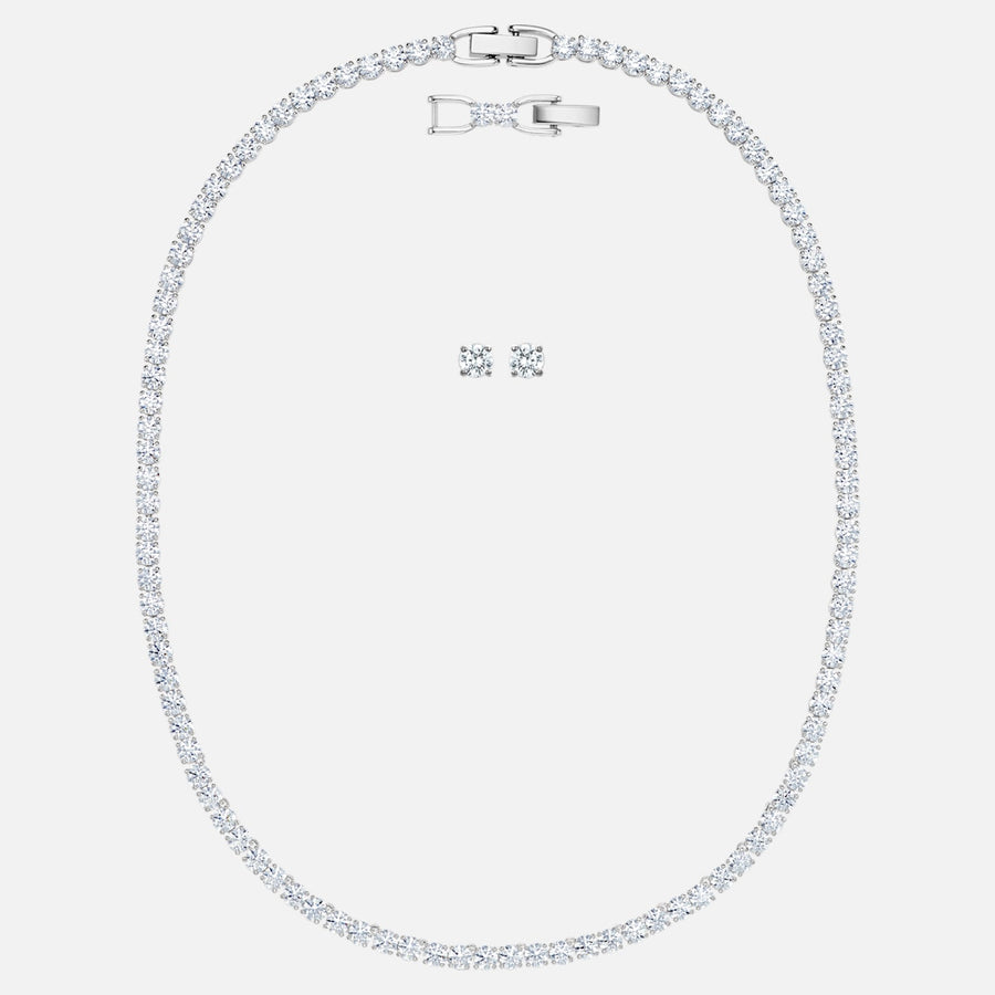 SWAROVSKI TENNIS DELUXE SET, WHITE, RHODIUM PLATED 5506861