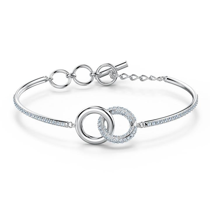 Stone Bangle, White, Rhodium plated 5523953