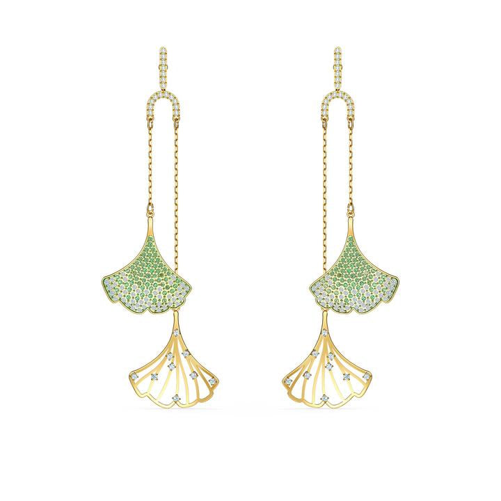 Stunning Ginko Mobile Pierced Earrings, Green, Gold-tone plated 5527080