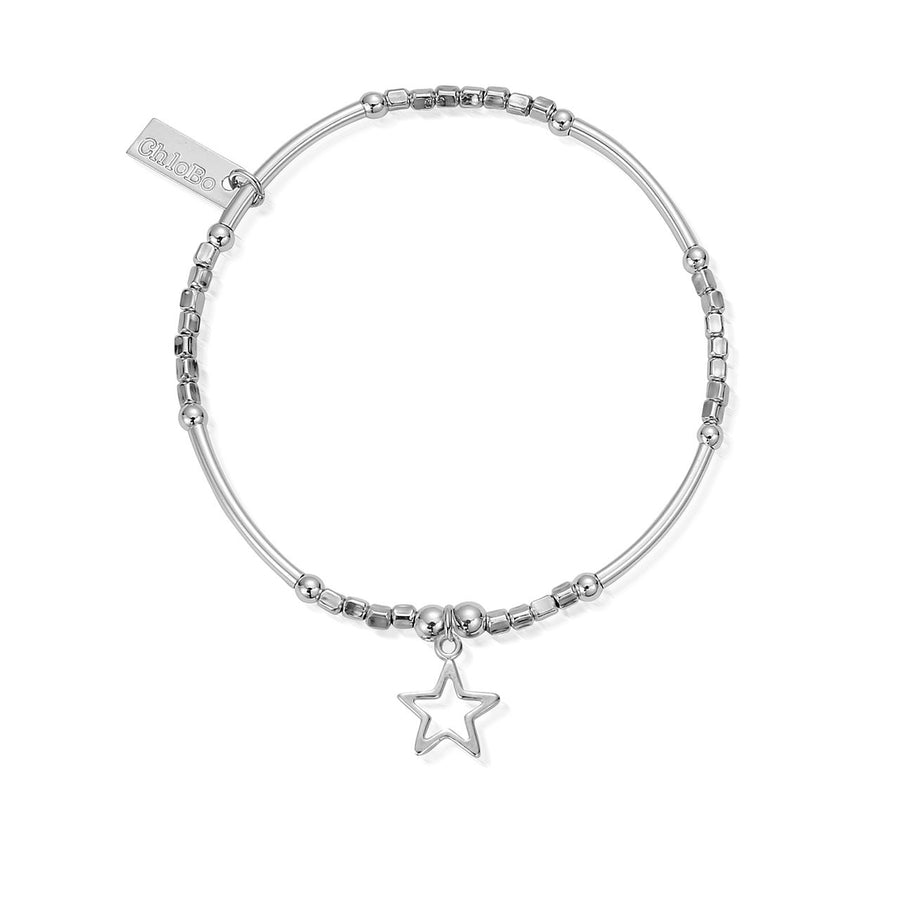 ChloBo mini noodle cube with small open star charm bracelet SBMN097