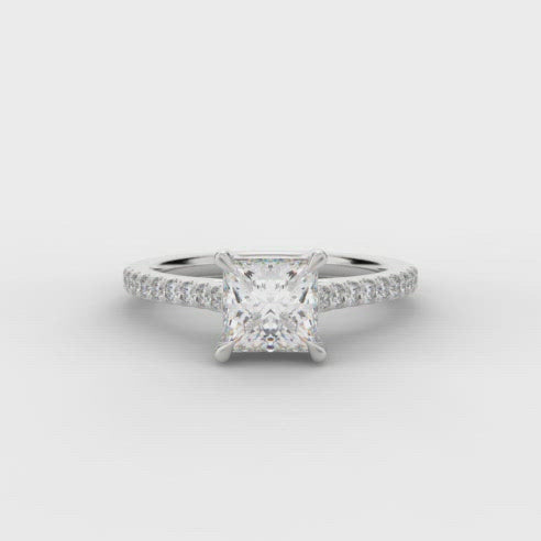 The Raphael Collection Platinum Princess shaped Diamond Engagement Ring ENG6951 SMT
