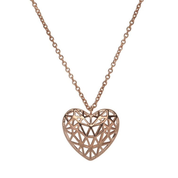 Sterling Silver 925 Pendant - Rose Gold Plating incl. Chain MK-705RG