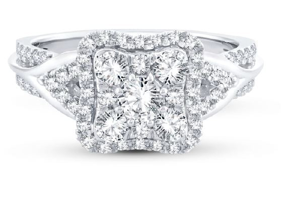 18ct White Gold Square Cluster Ring 91328R100-18W 1.00ct