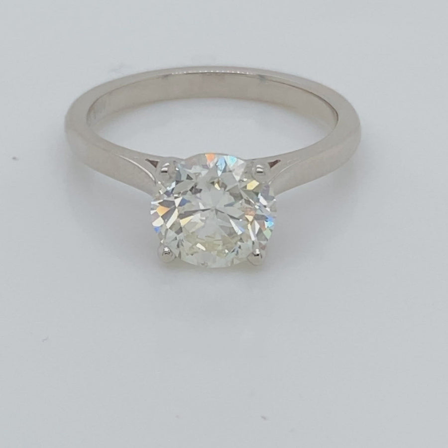 Platinum Diamond Ring Round Brilliant Stone 2.01ct SV4713