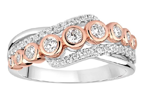 Morgan Banks 18ct White and Rose 3 row Gold Diamond  1/2 ET Ring 9743R050