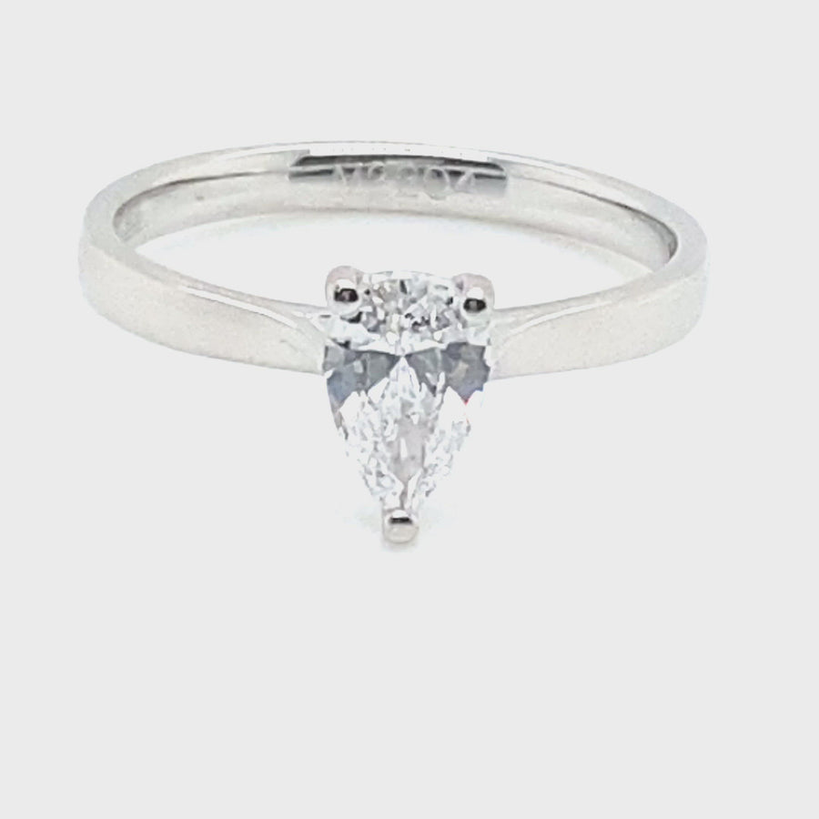Platinum Pear Shaped Diamond Ring .70ct E SI1 M2204