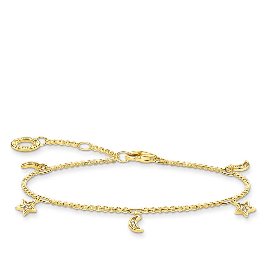 Thomas Sabo Bracelet with Stars and Moons in Yellow Gold A1994-414-14-L19V