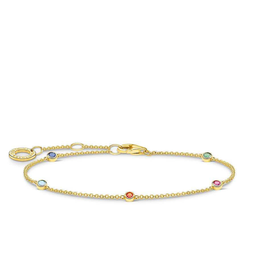 Thomas Sabo Yellow Gold Bracelet with Colourful Stones A1999-488-7-L19V