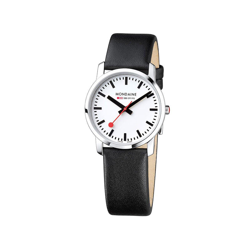 Mondaine Simply Elegant Womens White Dial Black Leather Strap 36mm A400.30351.11SBB