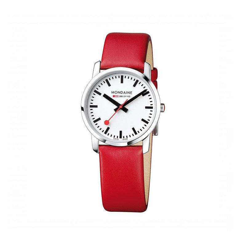 Mondaine Simply Elegant Womens White Dial Red Leather Strap 36mm 400.30351.11SBC