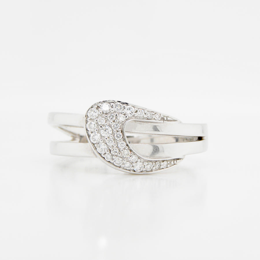 9ct White Gold Circle Set 5 Stone Diamond Ring .19ct
