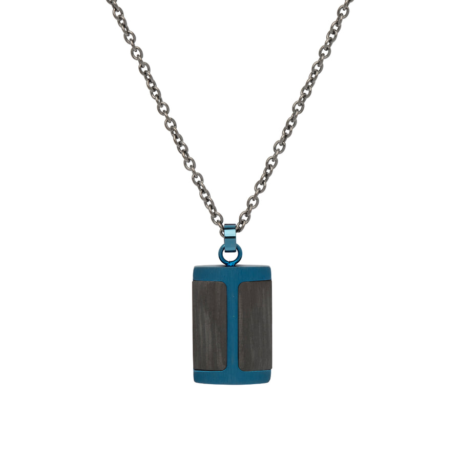 Steel Pendant with Carbon Fibre and Blue IP incl. Chain AN-83