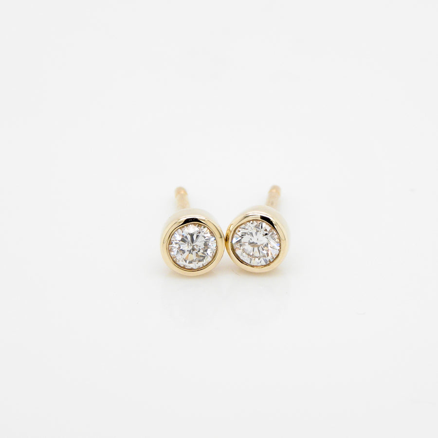 9ct Yellow Gold Rub over setting Diamond Earrings