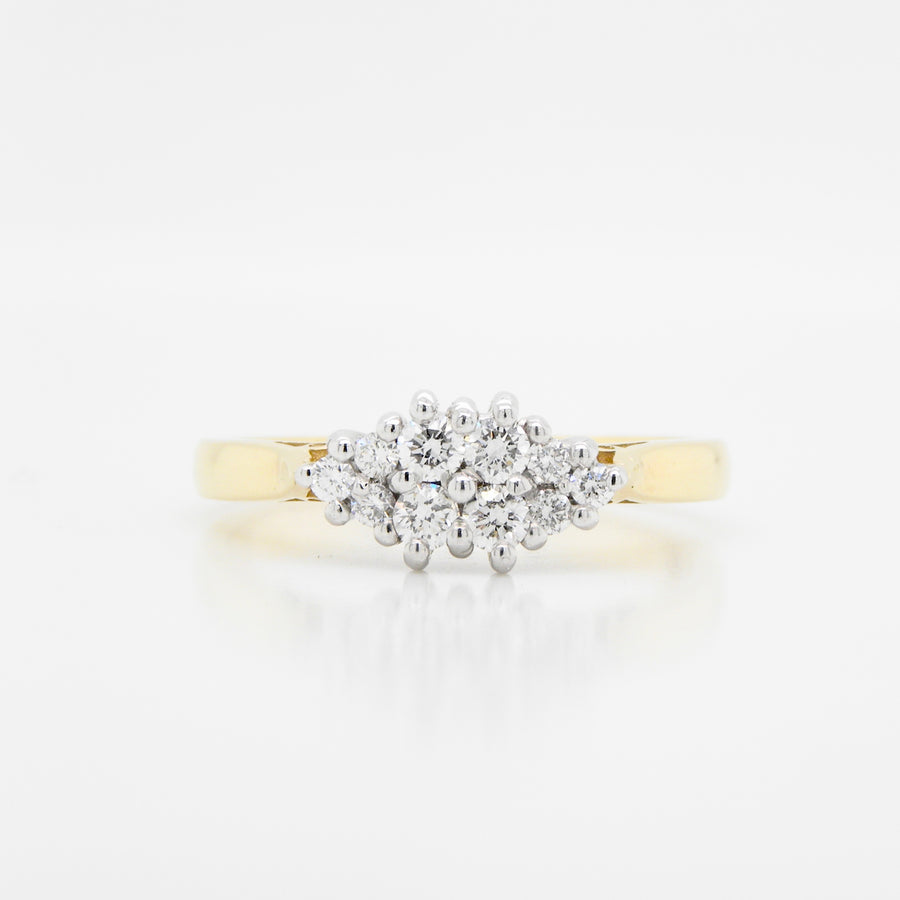18 Carat Yellow Gold Diamond Cluster Ring   .27Ct