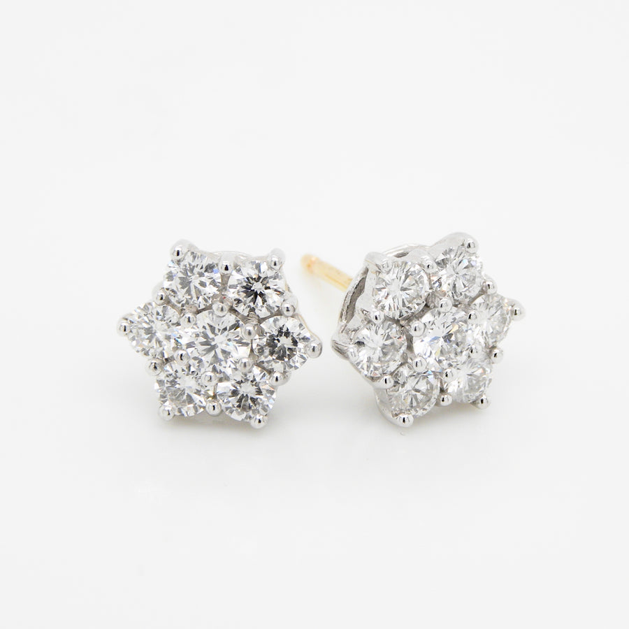 18ct Yellow Gold Cluster Diamond Earrings .83ct