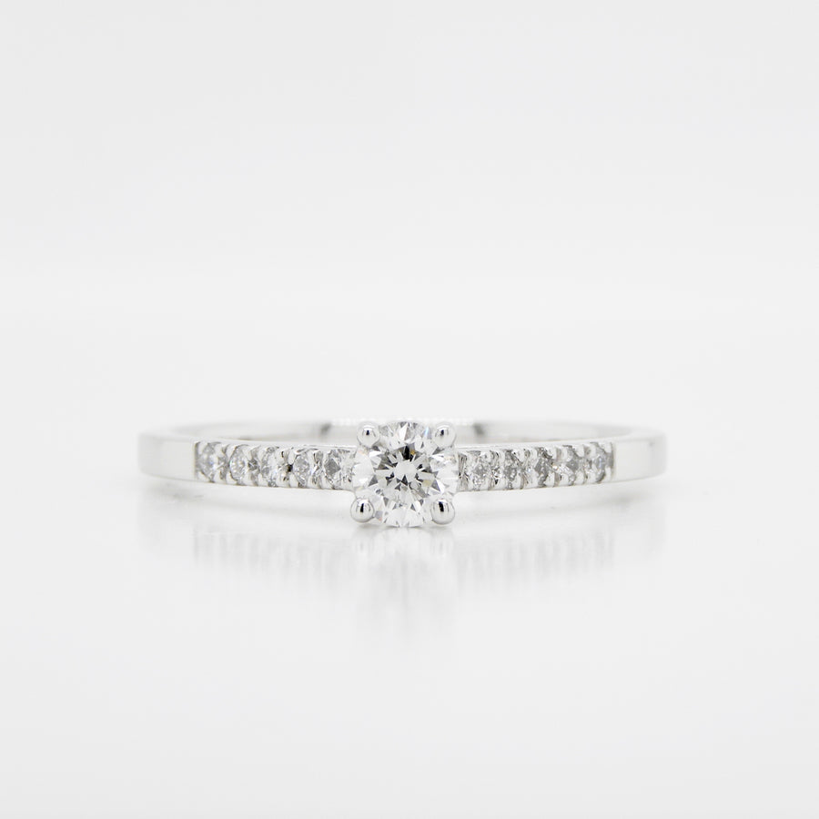 Platinum  Single Stone Diamond Ring  Set shoulders  .40ct