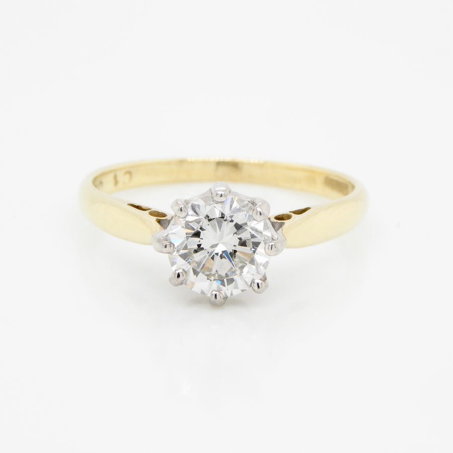 18ct Yellow Gold Mount 6 claw Platinum setting Round Brilliant Cut Diamond Ring
