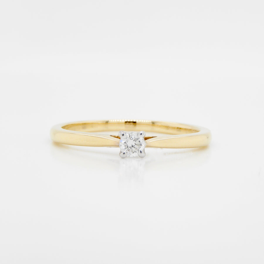 18ct Yellow Gold Single Stone Diamond Ring .11ct