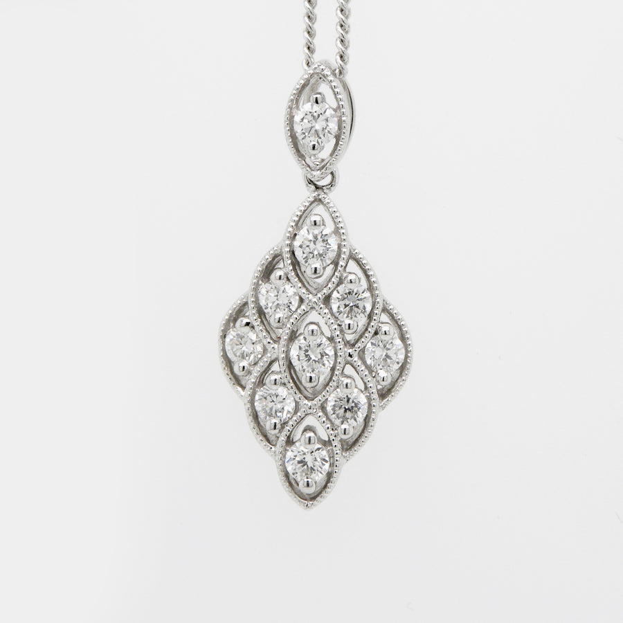 18ct White Gold  Diamond shaped Drop Diamond Pendant .30ct