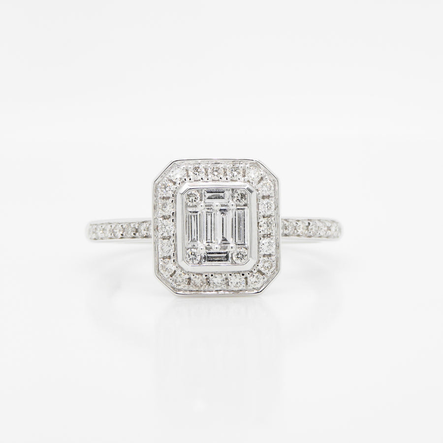 Platinum Diamond Square Cluster 0.46 CT