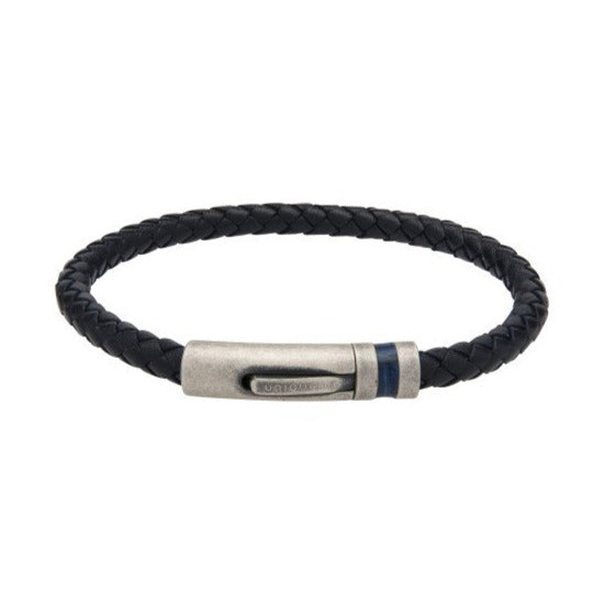 Navy Leather Bracelet - Antique Silver Steel Clasp - Leather Inlay B430NV