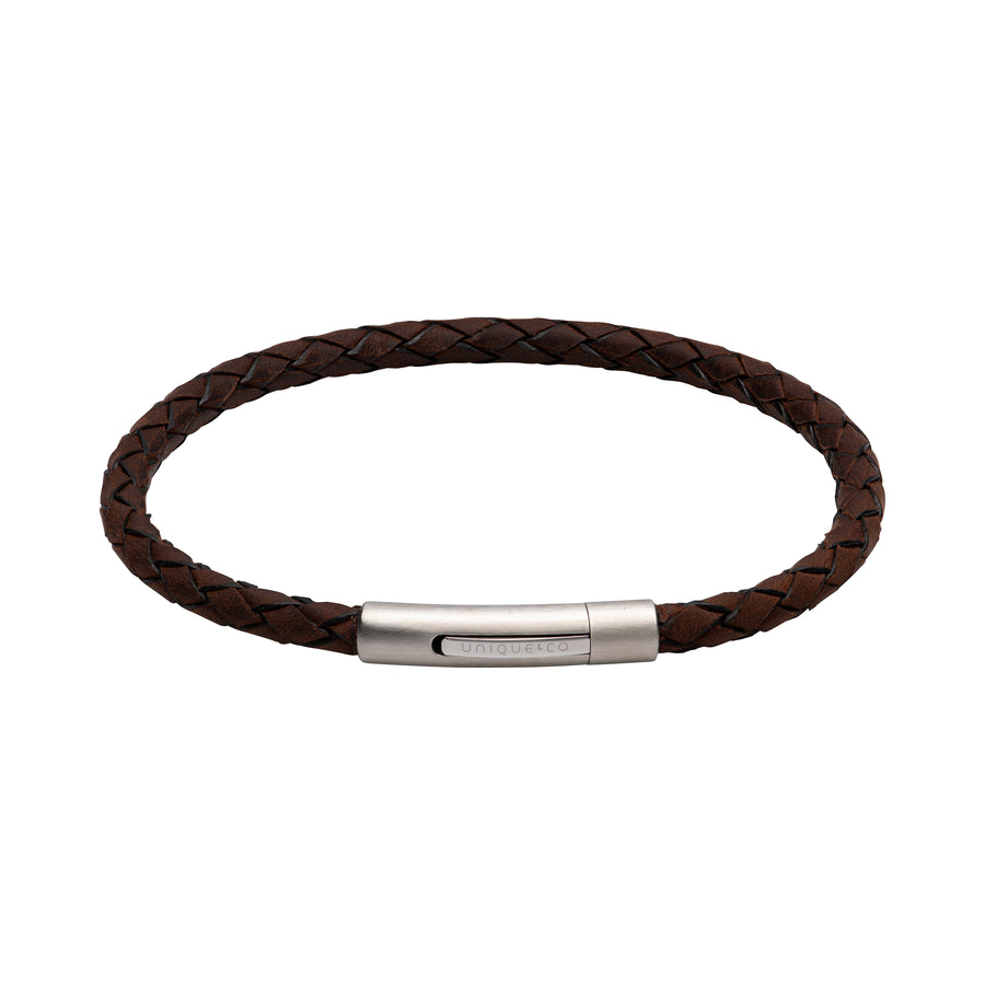 Dark Brown Leather Bracelet BL Edge with Matte/Steel Polished Clasp B444DB