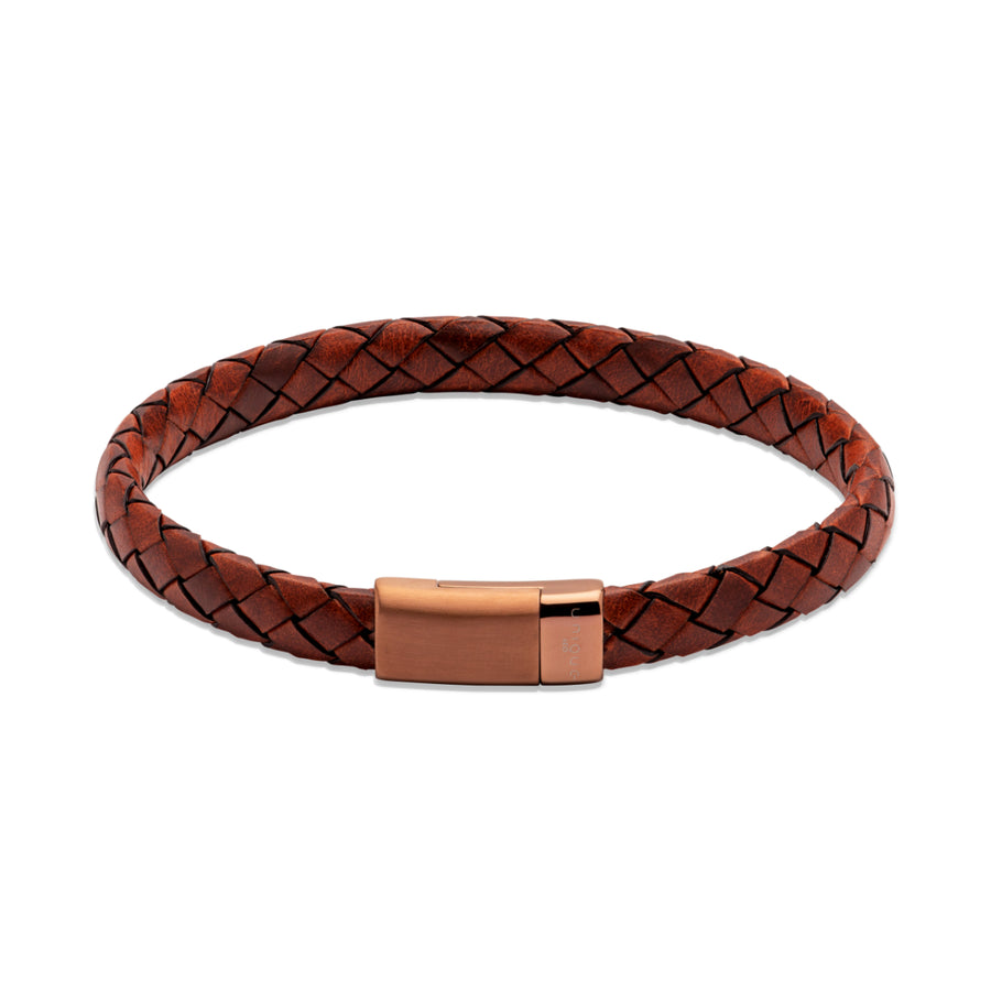Lido Cognac Leather Bracelet. BL Edge with Brown IP Magnetic Steel B445LC