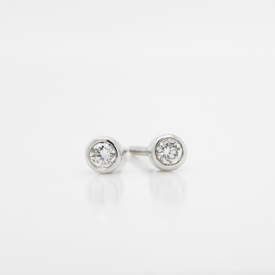 18ct White Gold Rub over setting Diamond Earrings