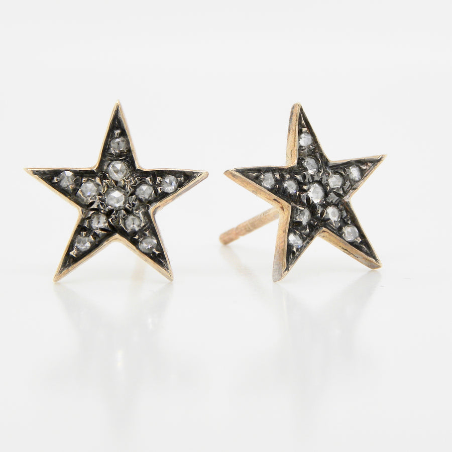 9ct Yellow Gold Pave Set Rose Cut Diamond Star Earrings