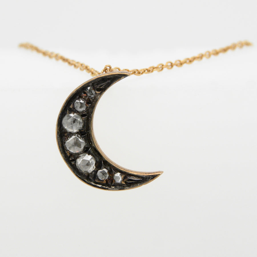 9ct Rose Gold Pave Set  Diamond Moon Pendant