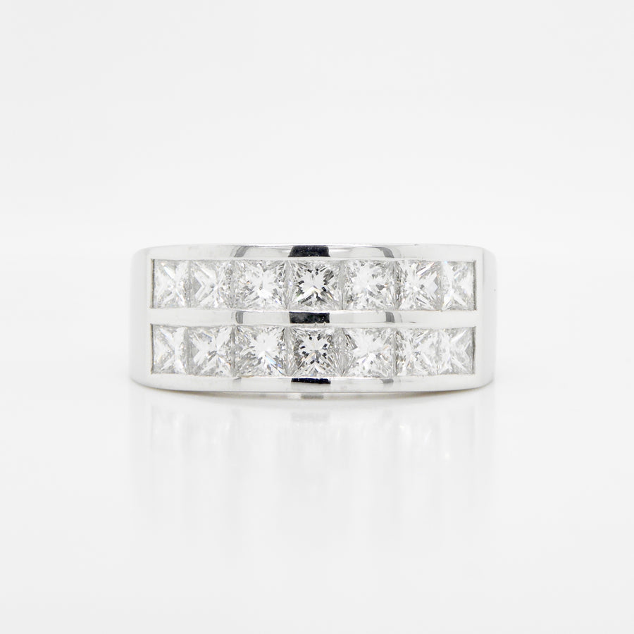 Platinum 2 Row Princess Cut Eternity Ring 2.22ct