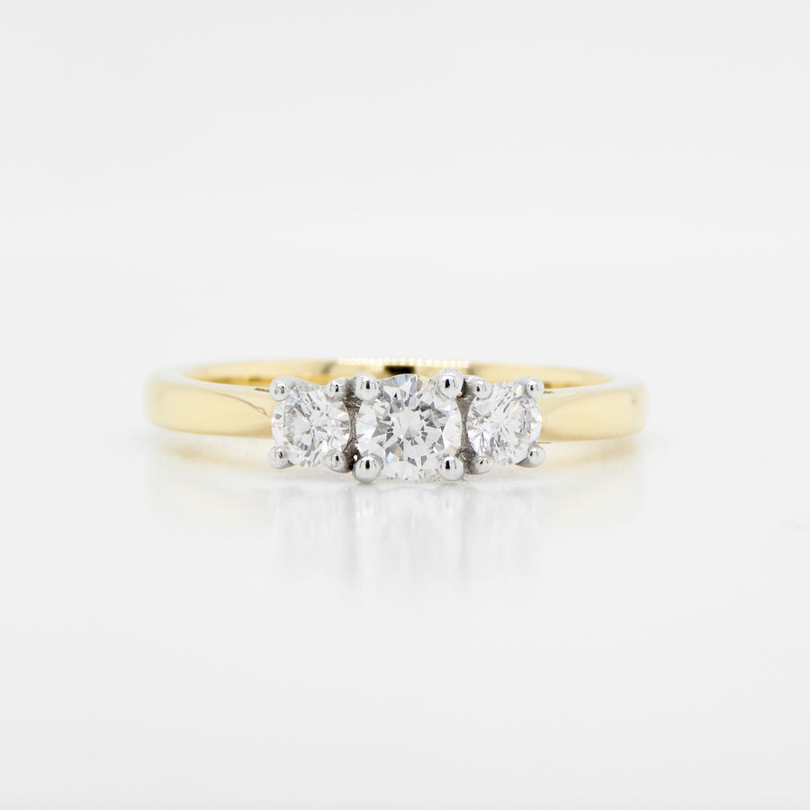 18ct Yellow Gold 3 Stone Diamond Ring 1.05ct