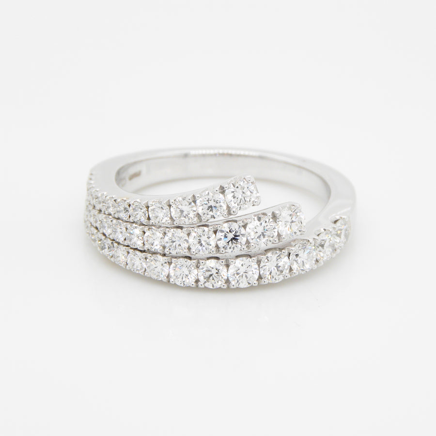 18ct White Gold 3 Row Diamond Curve Band