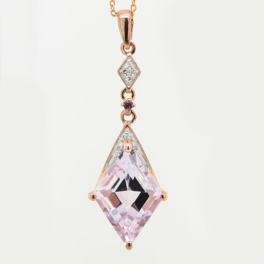 9ct Rose Gold Rose de France Amethyst & Diamond Drop Pendant