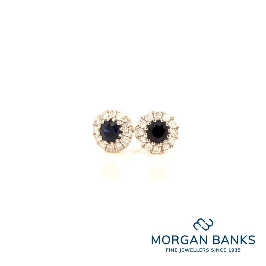 18ct Sapphire and Diamond Earrings .25ct .12ct