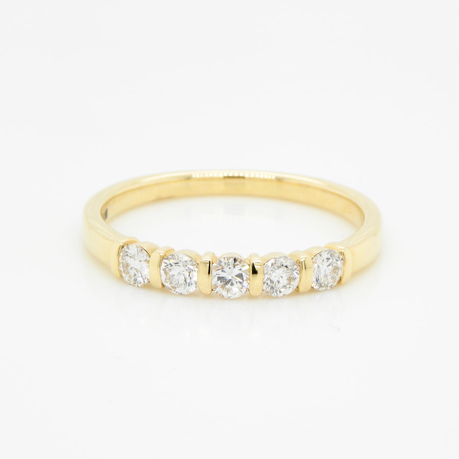 18ct Yellow Gold Strap 5 Set Diamond  Ring .43ct