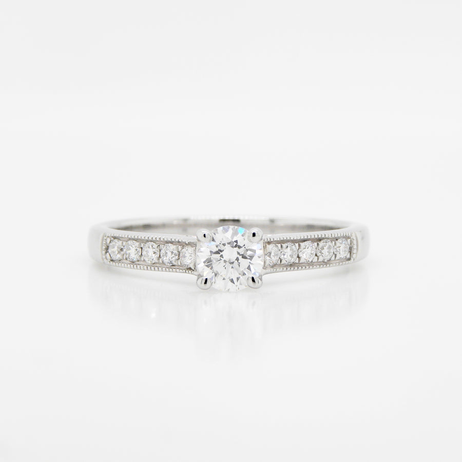 18ct White Gold Diamond Ring With Diamond Shoulders .43ct