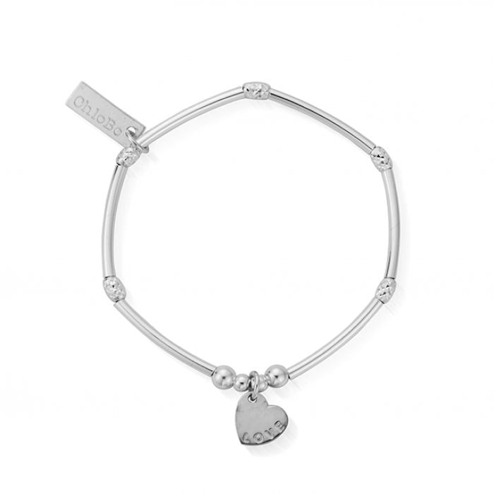 ChloBo mini noodle sparkle rice with love heart charm bracelet SBMNSR092
