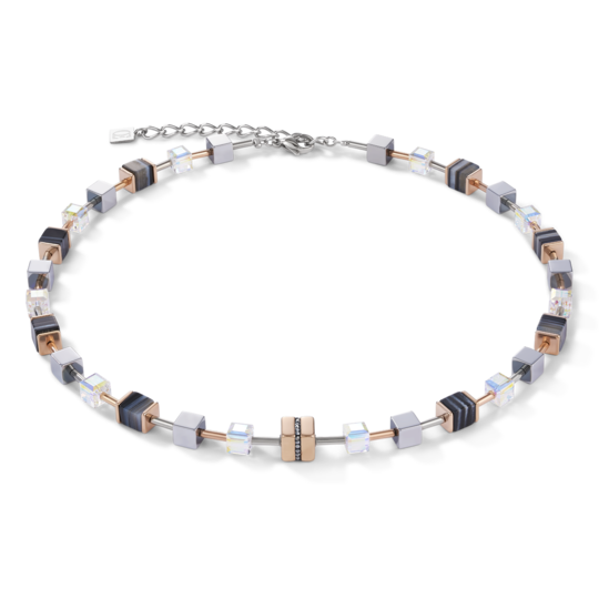 Necklace GeoCUBE® Stainless steel & crystals pavé, Swarovski® Crystals & banded onyx rose gold-black 4965101630