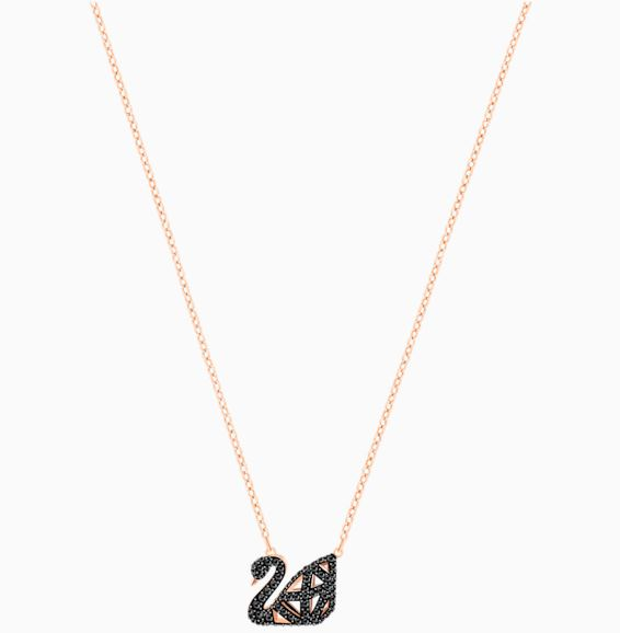 Swarovski Ladies Facet Black Swan and Rose Gold Necklace 5281275