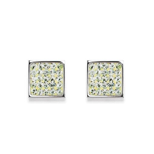 Coeur de Lion Earrings Light Green Stainless Steel & Crystals Pavé Crystal 0117210520