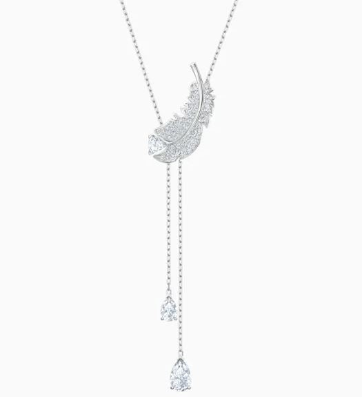 Swarovski Nice Feather Silver Tone Necklace 5493397