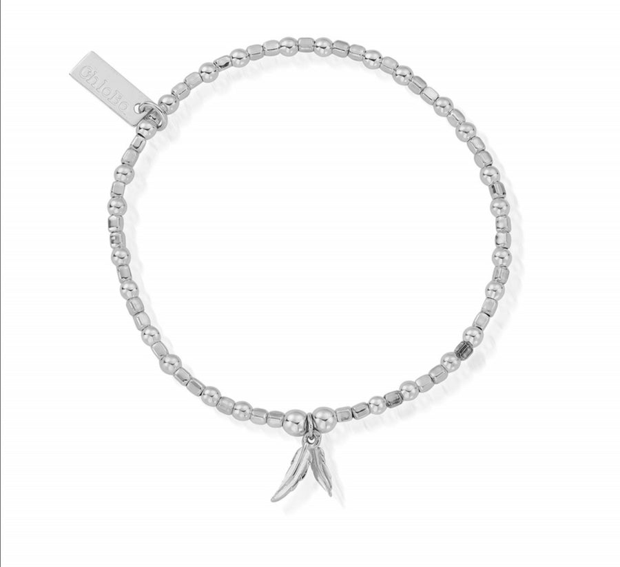 ChloBo mini cube double feather bracelet SBCFB584