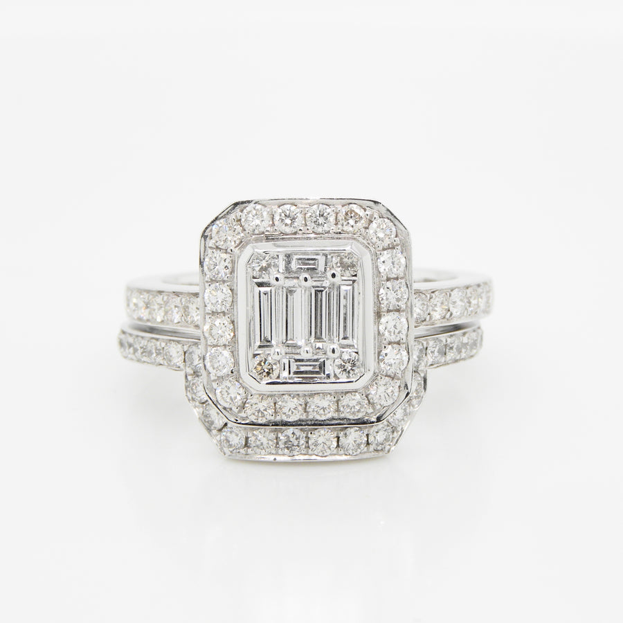 18ct White Gold Illusion Set Emerald Cut Diamond Ring .97ct