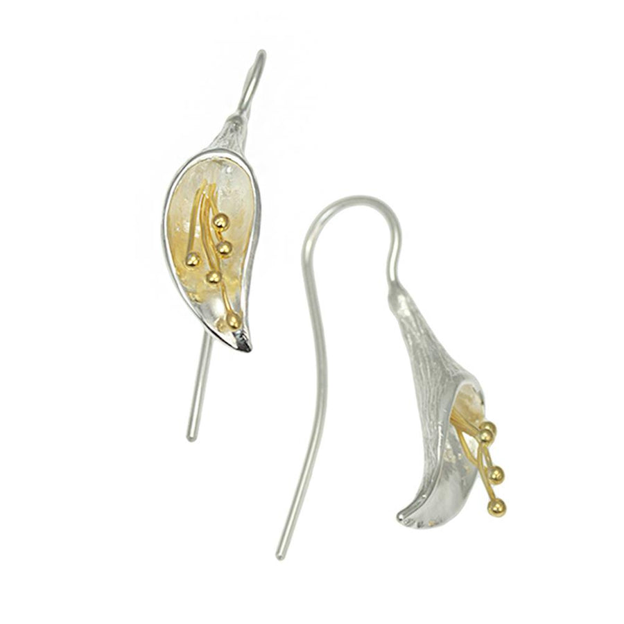 Christin Ranger Calla Lily Silver and Gold Earrings E006SG